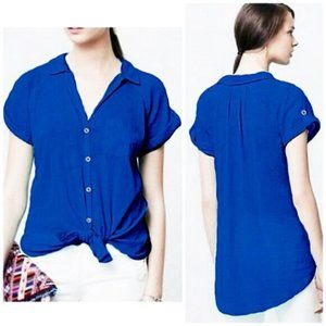 hei hei Blue Crinkle Button Up Shirt, size Small